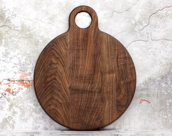 Large Round Cutting Board, With Large Handle, Walnut Wood