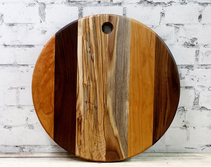 SALE, PRICE REDUCED! Round Cutting Board, Walnut, Cherry, and Ambrosia Maple
