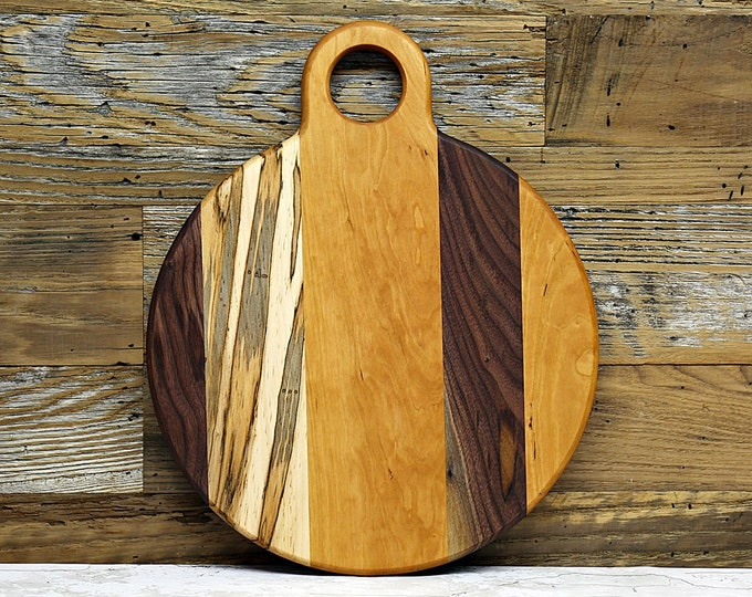 Large Round Cutting Board, With Handle, Walnut, Cherry, and Ambrosia Maple