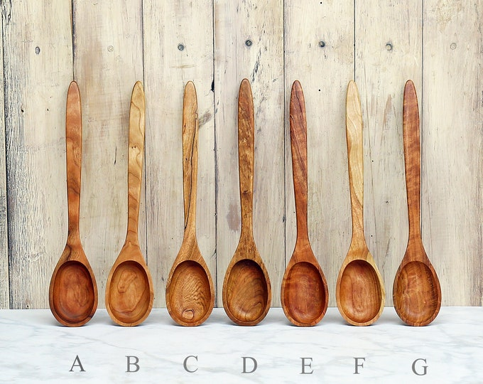 Wooden Spoon, Premium Collection Spoons, Figured, Mineral Streaked, or Two Tone Cherry Wood