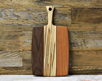 Wood Cutting Board, With Dovetail Handle, Mixed Woods, Walnut, Cherry, Ambrosia Maple