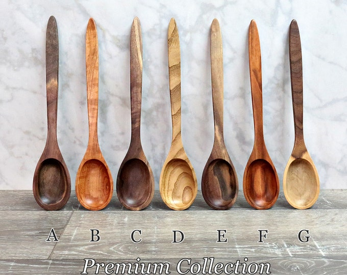 Wooden Spoons, Premium Collection Spoons, Two Toned Walnut, Chestnut, or Figured Cherry Wood