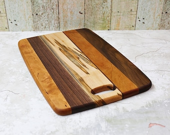 Cutting Board, Serving Board, Walnut, Cherry, Maple Wood