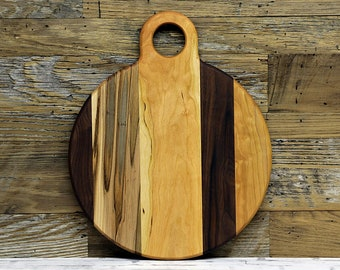 SALE, Price Reduced!!!  Large Round Cutting Board, With Handle, Walnut, Cherry, and Ambrosia Maple
