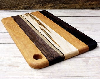 Cutting Board, Rectangle Shaped, Walnut, Cherry, And Ambrosia Maple Wood