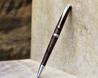 Wood Pen, Figured Walnut, Satin Plated Metal