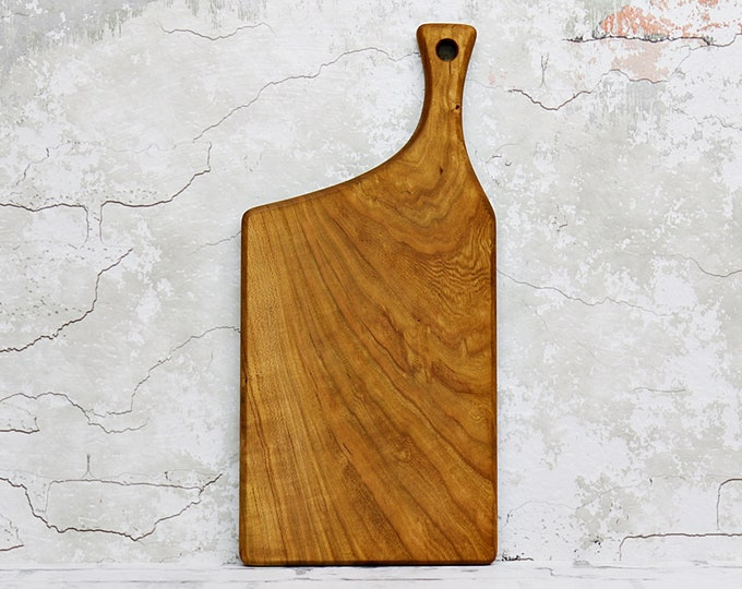 Wooden Cutting Board, Figured, Cherry Wood, Offset Handle