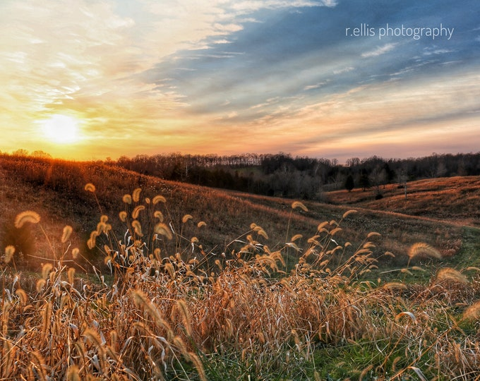 Photography, Landscape, Sunset, Nature Print, Title: Colorful Sunset Over Sparksville, 11 x 14 Inch Photographic Print