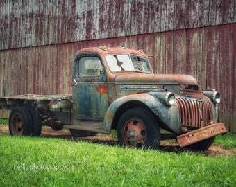 Photography, Old Antique Truck By The Red Apple Barn, 11 x 14 Inch Photographic Print