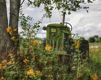 Photography, Primitive, Antique Tractor Print, John Deere Tractor, 11 x 14 Inch Photographic Print
