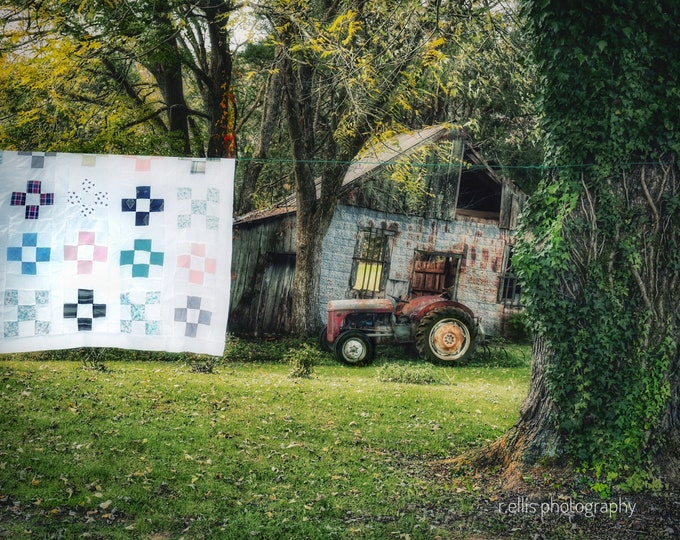 Photography, Antique Tractor, Massey Ferguson, Title: The Quilt, Tractor And Jasper Gadberry General Store