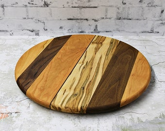Large Lazy Susan, 16 Inches Round, Oil Rubbed Finish, Low Profile, Walnut, Ambrosia Maple,  and Cherry Wood