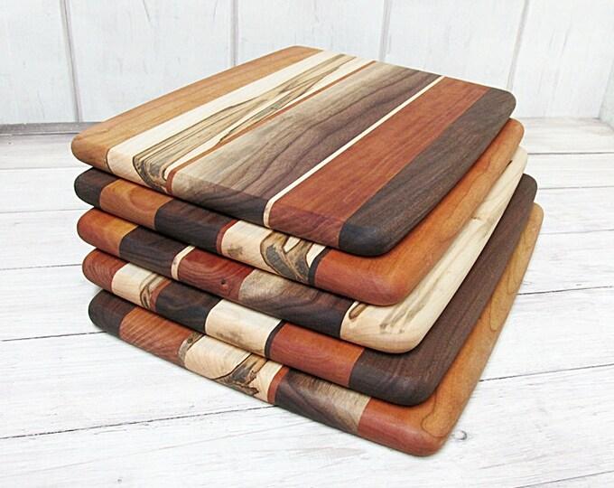 Wood Cutting Board, Random Layout, Walnut, Cherry & Ambrosia Maple Wood
