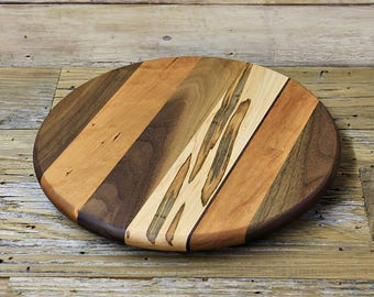 Lazy Susan, 12 Inches Round, Oil Rubbed Finish, Low Profile, Walnut, Ambrosia Maple,  and Cherry Wood, Random Layout