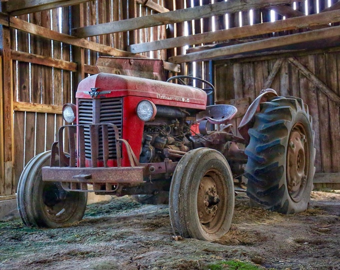 Photography, Primitive, Antique Tractor Print, Massey Ferguson Resting Peacefully In The Barn