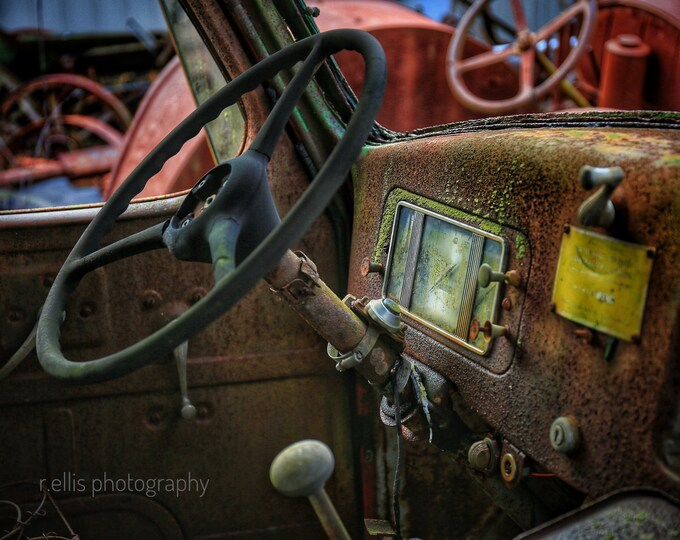 Photography, Inside View of an Old Well Drilling Truck, 11 x 14 Inch Photographic Print