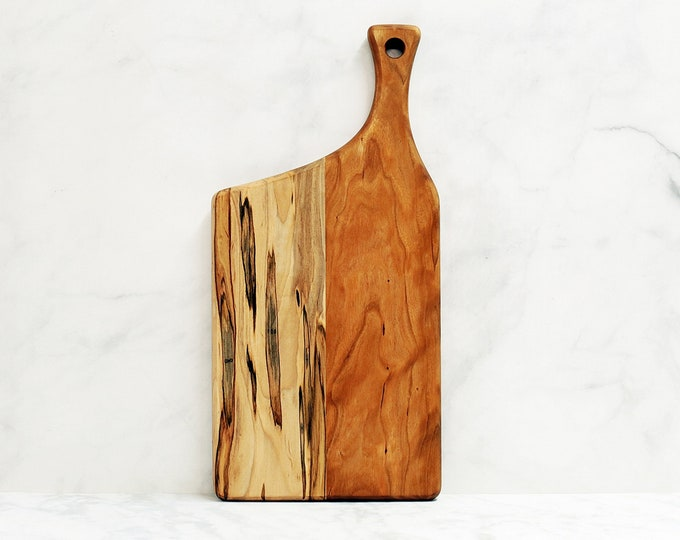 Premium Collection, Wood Cutting Board, Cherry and Ambrosia Maple Wood, Offset Handle