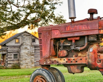 Photography, Landscape, Primitive, Antique Tractor Print, Title: Country Retirement