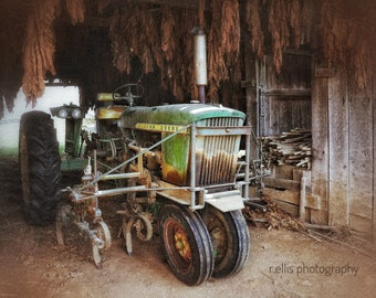 Photography, Primitive, Antique Tractor Print, John Deere Resting in the Tobacco Barn, 11 x 14 Inch Photographic Print