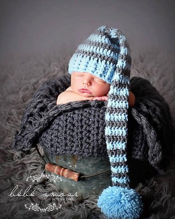 Elf Hut blau grau Elf Mütze häkeln lange Schwanz Elf Mütze | Etsy