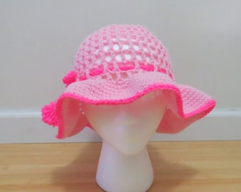 Mesh Hat, Girls Hat, Summer Hat, Toddler Hat, Adult Hat, Pink Hat Made to Order