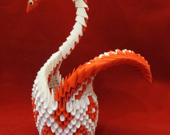 3D Origami, 3D Origami Swan, Diamond Swan, Red and White Swan