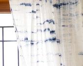 Shibori sheer curtains/Voile curtains/Sheer panels/Bohemian curtains/Window curtains/ curtain panels/Tie dye curtains/Curtains boho/Set of 2