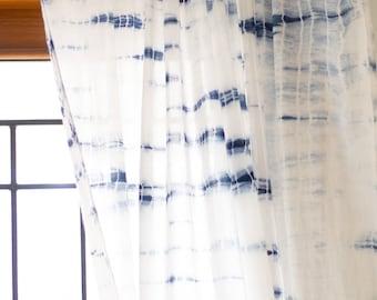 Shibori sheer curtains/Voile curtains/Sheer panels/Bohemian curtains/Window curtains/ curtain panels/Tie dye curtains/Curtains boho