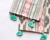 Kitchen towels/ Cotton Dishcloth/ Tea towels/ Cloth Napkins - set of 2 with or without tassels - Ikat fabric - 100% handloom cotton