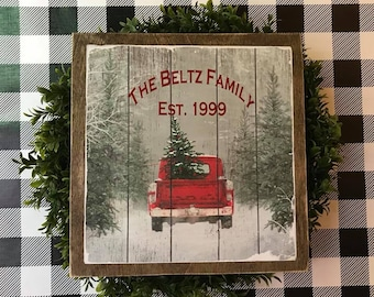 red truck sign farmhouse decor wooden christmas sign christmastree truck sign vintage red truck with tree rustic