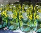 Set of 8 Drinking Glasses Yellow, Lime Green and Lt Blue