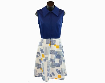 1960s Route One Vintage / Cobalt Blue Swing Dress / Blue and Yellow / Geometric Pattern / Collared Dress / Sleeveless / Retro Navy Dress