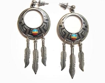 Vintage Sunrise Silver  / Sterling Silver Earrings / Native American Jewelry / Southwestern Style / Feathers / Dangling Earrings