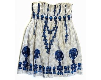 Vintage Modern designer Nanette Lepore Bold Abstract Floral Print Strappy Rushed Dress S M