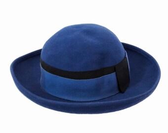 Vintage Lancaster Hat / Bowler Style / Blue Women's Hat / Wool / Simple Cap / Made in USA / Dress Hat / Minimalist
