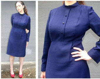 1960s Suzy Perette Vintage / Navy Blue Dress / Mad Men Style / Knee Length / Metal Zipper / Long Sleeves / Size Medium / Made in U.S.A