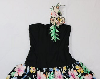 34829783758 1980s VICTOR COSTA for Lord and Taylor Vintage   One Shoulder Party Dress    Tropical Floral Print Gown   Tiered Designer Prom Dress   Black
