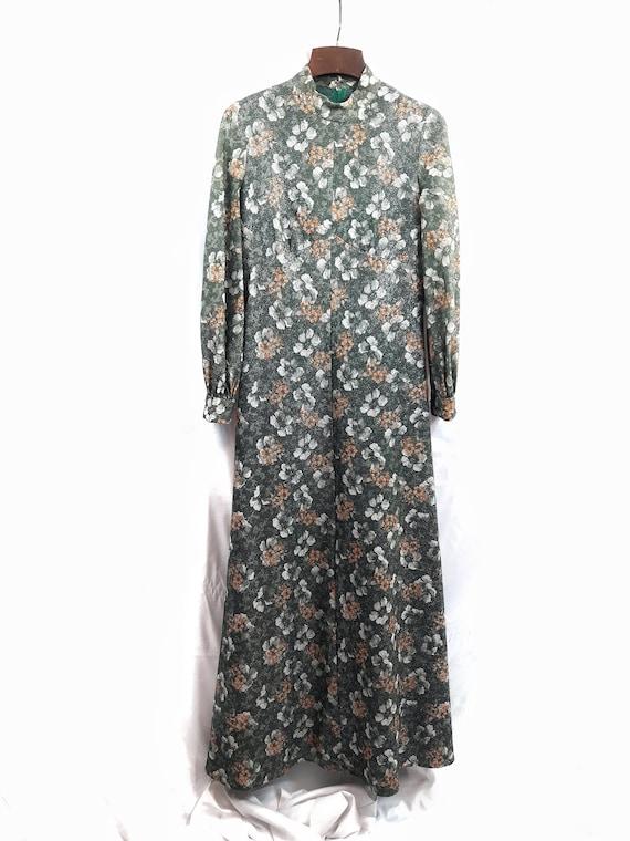1970s UNKNOWN Vintage / Floral Hippie Dress / Long