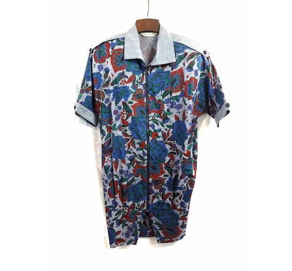 1980s OSCAR de la RENTA Vintage  Designer Floral Dress  Zippered Shirt Dress with Pockets  Knee Length  Short Sleeved  Shoulder Pads