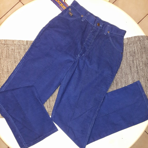 Vintage JANTZEN Pants / Deep Blue Corduroy Pants /
