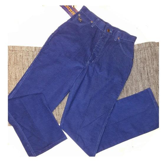 Vintage JANTZEN Pants / Deep Blue Corduroy Pants /