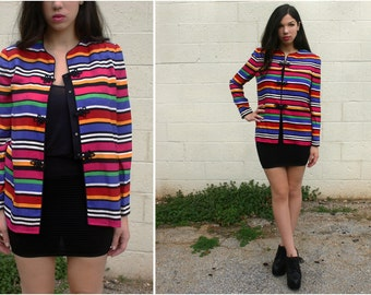 1990s Adrianna Papell Vintage / Long Sleeved Silk Blouse / Red, Green, Pink, Yellow, Blue, Black, White / Horizontal Stripes / Cardigan