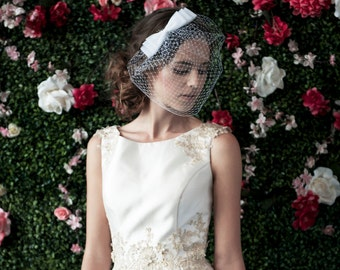 bridal birdcage veil with 3 layer bow russian netting veil blusher veil bridal birdcage veil wedding headpiece veil bow ~ COSETTE