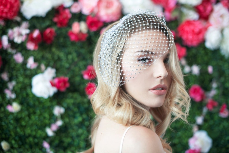 birdcage veil covered with rhinestones russian netting blusher image 0
