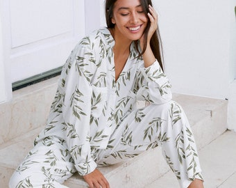Maggie Long Pajama Set - Olive Leaf - Code P043 (b)  / P005 (c)