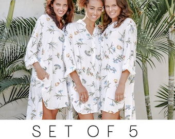 SET OF 5 - 15% Disc - Pandora Bridesmaid Shirts - Long Sleeve - Wild Flower BLUE - Code: P130 (b)