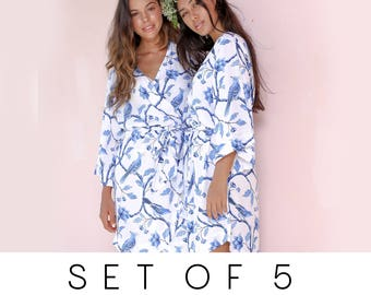 SET OF 5 - 15% Disc - Bespoke Bridesmaid Robes Set of 5 - Bluebird - Code: P053 (B)