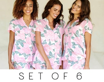SET OF 6 - 20% Disc - Maggie Pajama Set of 6 - Mary Rose PINK - Code: P043 + P005