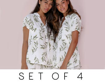 SET OF 4 - 15% Disc - Maggie Pajama Set of 4 - Olive Leaf - Code: P043 + P005