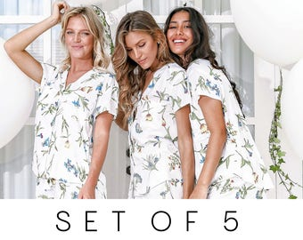 SET OF 5 - 15% Disc - Maggie Pajama Set of 5 - Wild Flower Blue - Code: P043 + P005
